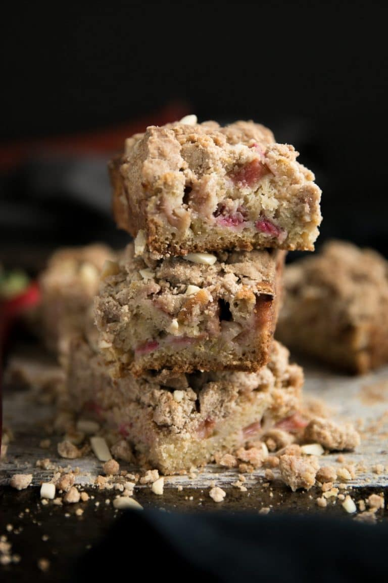 3 slices of Rhubarb Coffee Cake stacked up