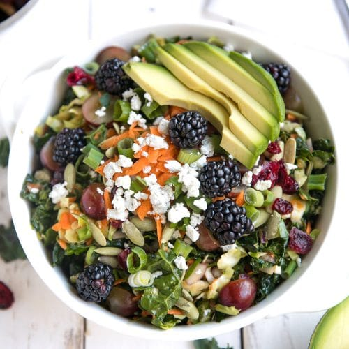 Shredded Kale and Brussels Sprout Salad with Lemon + Orange Vinaigrette