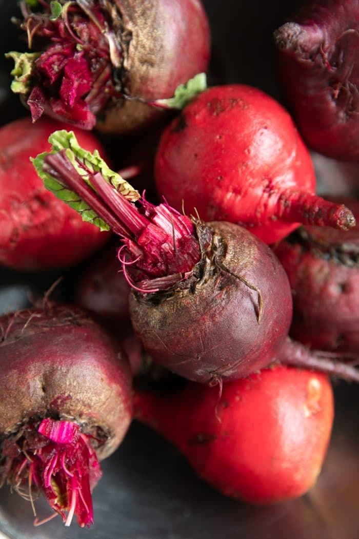 A close up of fresh beets