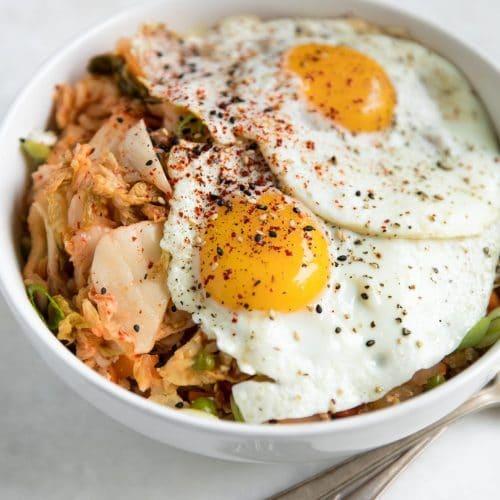 A plate of kimchi fried cauliflower rice