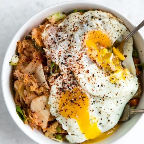 Kimchi Cauliflower Fried Rice with Egg