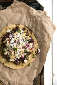 Mexican Street Corn Tostadas with Chipotle Back Beans