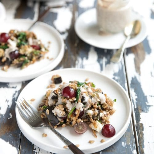 Roasted Eggplant and Caramelized Onion Farro Salad with Walnut Mustard Dressing