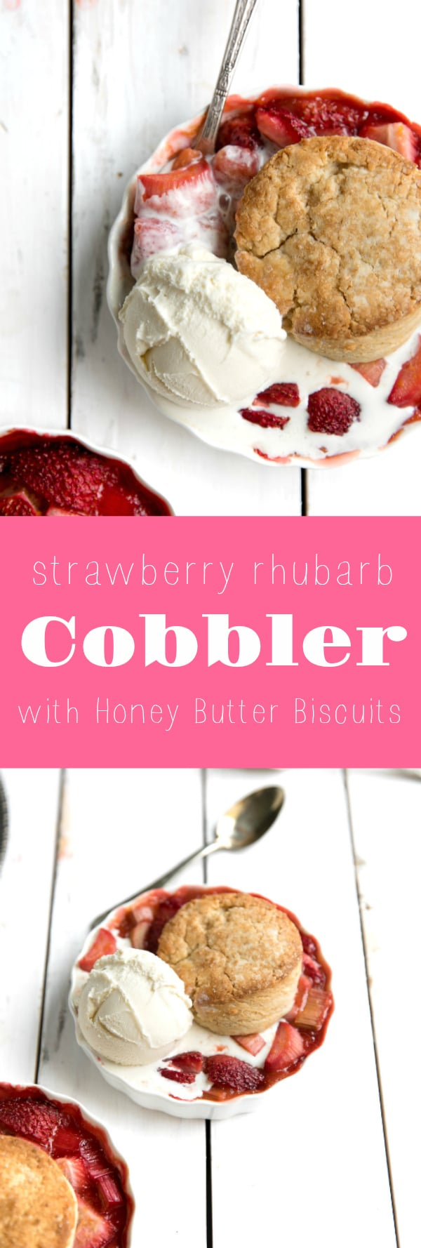 Strawberry Rhubarb Cobbler with Honey Butter Biscuits via @theforkedspoon #dessert #cobbler #rhubarb #pie #strawberry #theforkedspoon