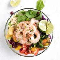 Tropical Shrimp Buddha Bowl with Pineapple Peanut Dressing