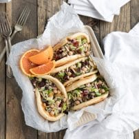 wraps with chickpeas chopped celery cranberries and tahini