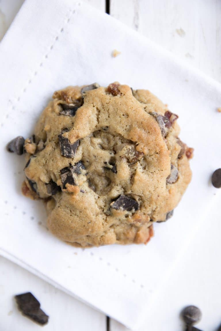 A cookie with Bacon Bourbon and Chocolate chips