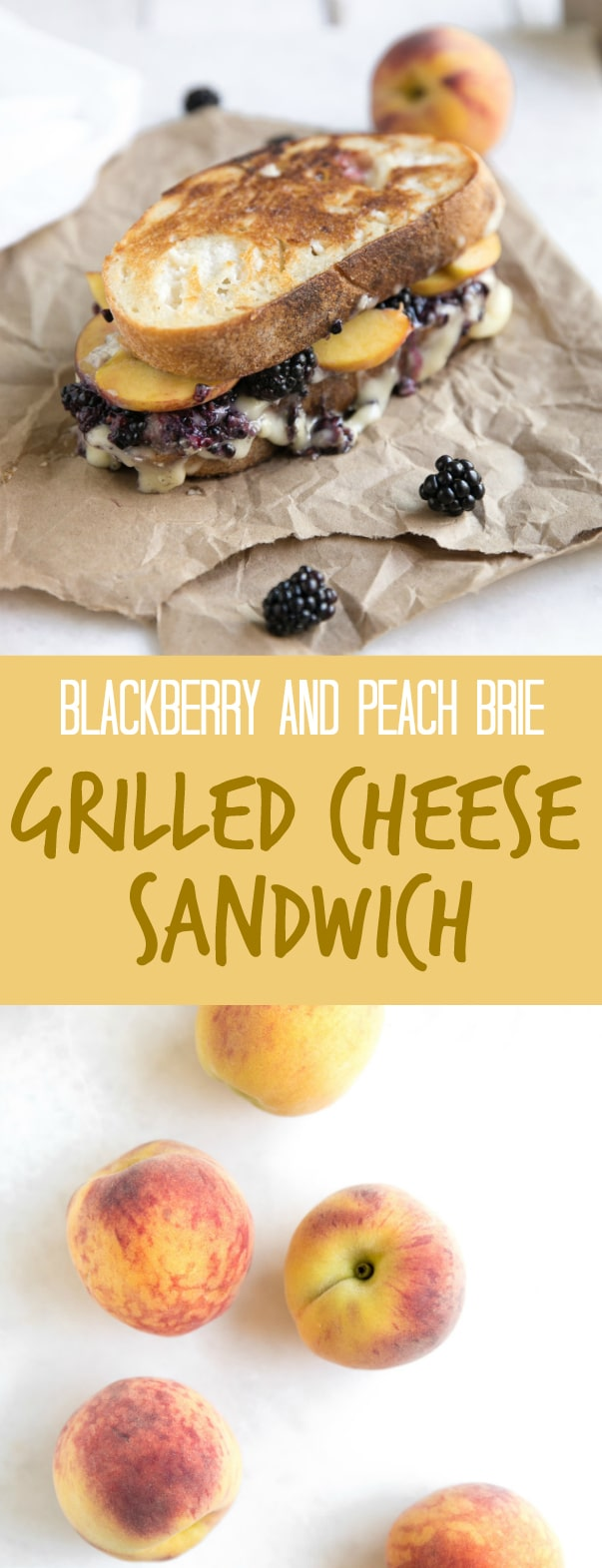 Blackberry and Peach Brie Grilled Cheese Sandwich #sandwich #grilledcheese #wine #france #brie #comfortfood #easyrecipe #ad via @theforkedspoon