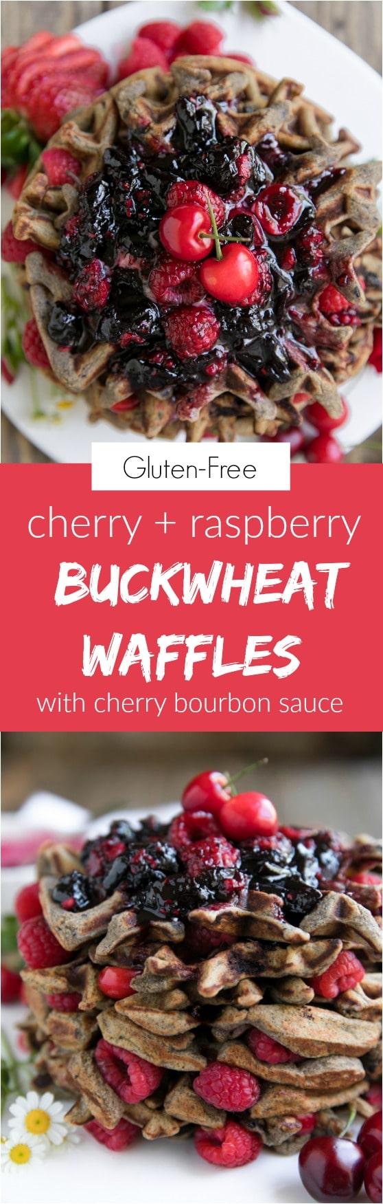 Gluten-Free Cherry Raspberry Buckwheat Waffles with Cherry Bourbon Sauce #breakfast #waffles #cherry #bourbon
