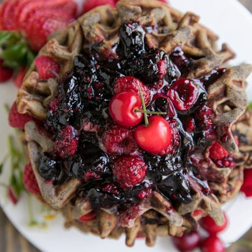 Gluten-Free Cherry Raspberry Buckwheat Waffles with Cherry Bourbon Sauce