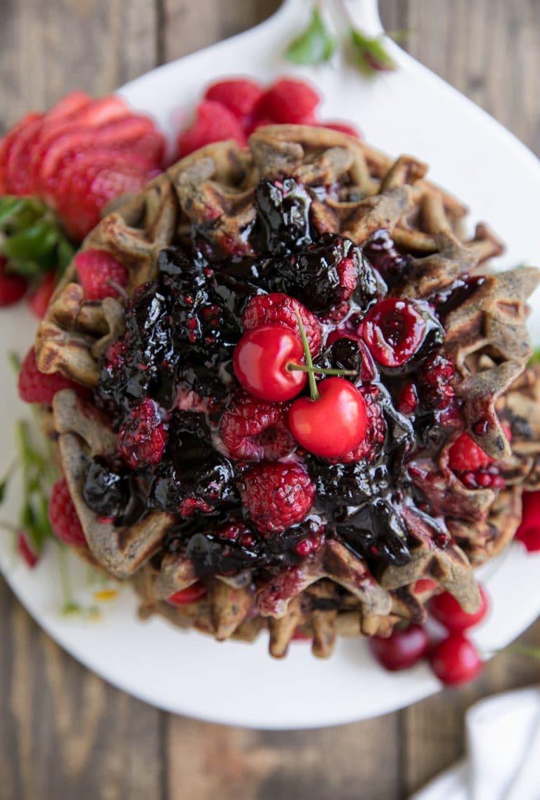 Gluten-Free Cherry Raspberry Buckwheat Waffles with Cherry Bourbon Sauce