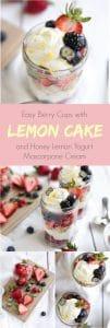 mason jars with lemon cake berries honey yogurt and mascarpone cream