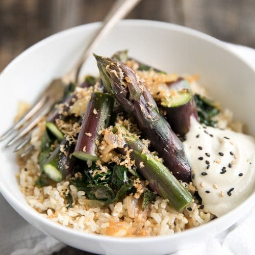 Sautéed Kale and Shallots with Purple Asparagus and Buttery Toasted Breadcrumbs
