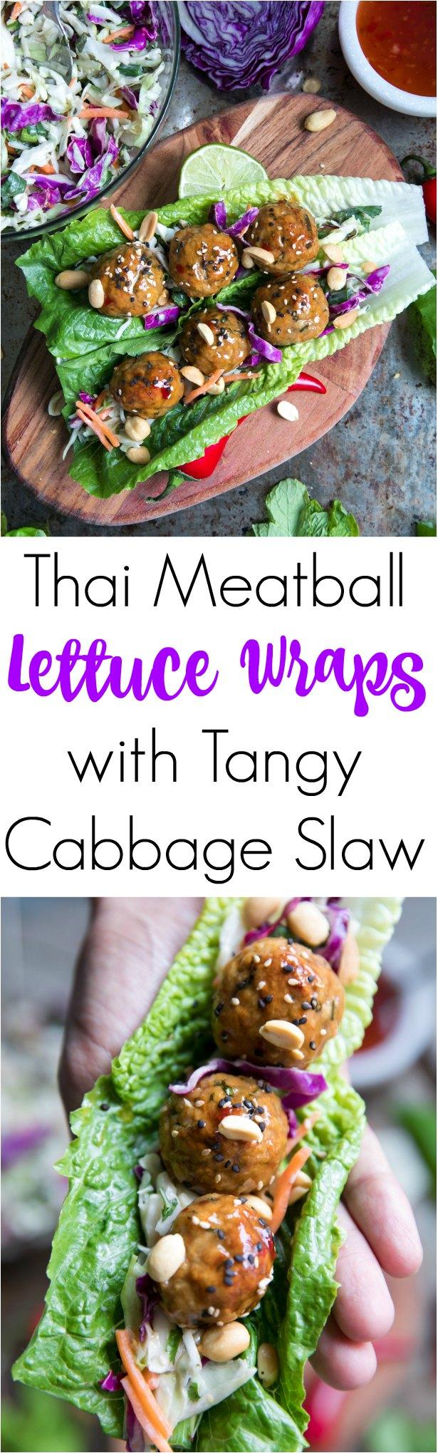 Thai Meatball Lettuce Wraps with Tangy Cabbage Slaw @theforkedspoon #lowcarb #meatballs #lettucewraps #dinner #easyrecipe #peanuts #thai
