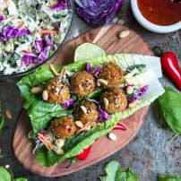 Thai Meatball Lettuce Wraps with Tangy Cabbage Slaw