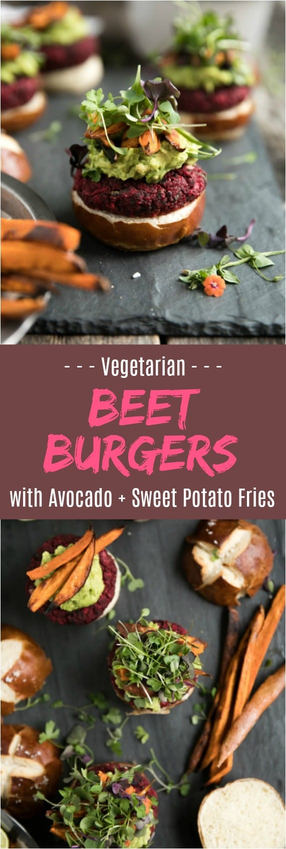 Vegetarian beet burgers with avocado and sweet potato fries @theforkedspoon #sweetpotato #fries #healthy #vegetarian #beets #avocado #beetburgers