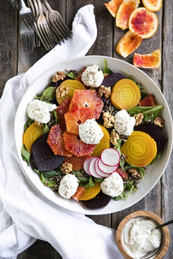 Wild Rice Salad with Beets, Oranges and Whipped Lemon Ricotta