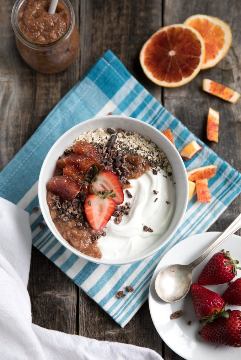 Rhubarb Yogurt Bowls with Cocoa Nibs and Fresh Fruit