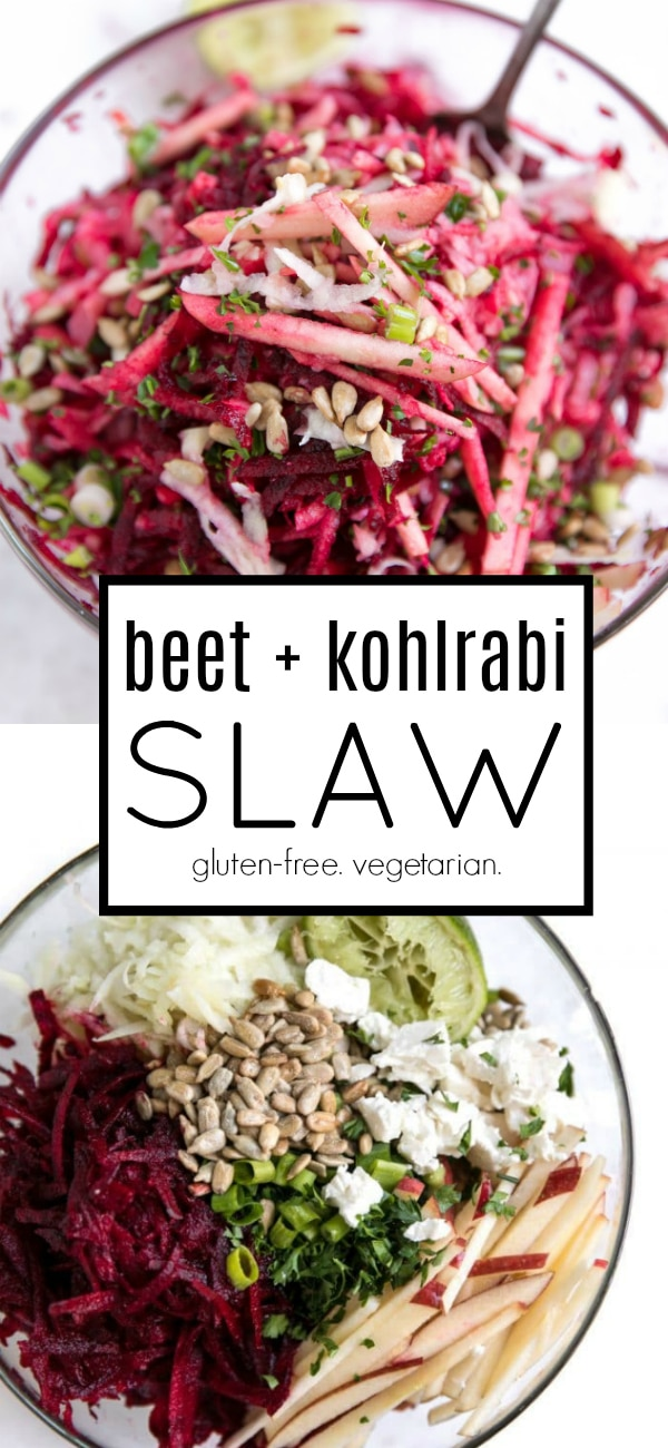 Crunchy Beet and Kohlrabi Slaw with Apples #kohlrabi #beets #vegetarian #glutenfree #slaw #salad #sidedish #easyrecipe   For this recipe and more visit, https://theforkedspoon.com/refreshing-kohlrabi-beetroot-and-apple-salad-with-feta-and-lime
