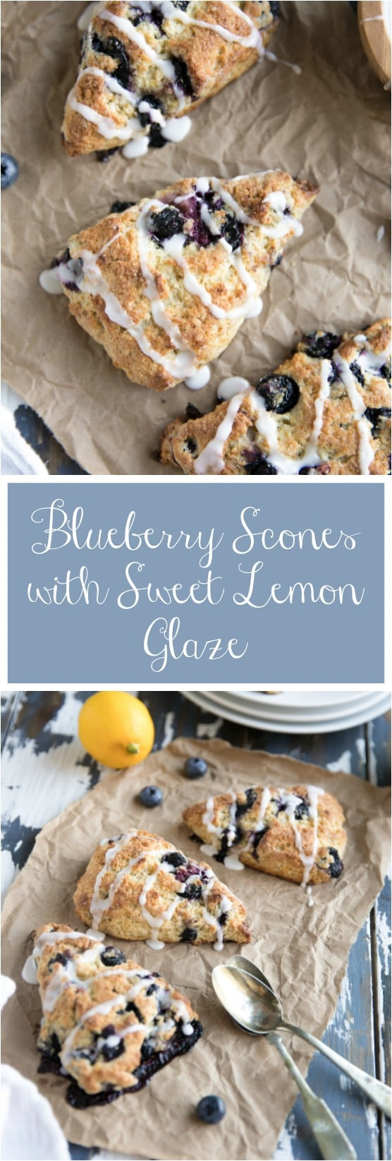Blueberry Scones with Lemon Glaze via @theforkedspoon #snones #breakfast #blueberries #lemon #pastry #brunch #theforkedspoon