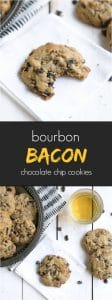 chocolate chip cookie with bite taken out, bacon crumbles, and a shot of bourbon