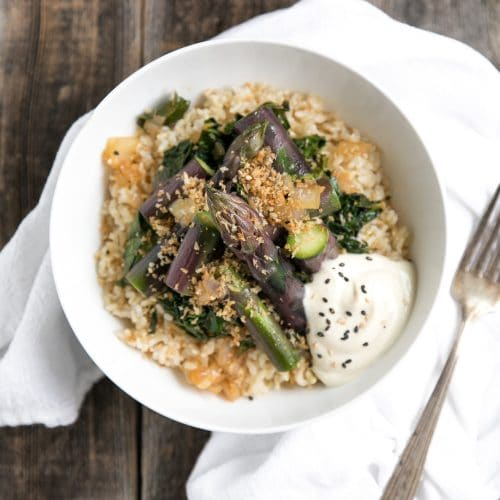 Sauteed Kale and Shallots with Purple Asparagus and Buttery Toasted Breadcrumbs