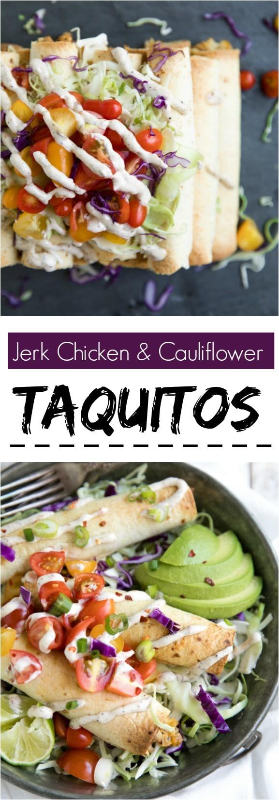 Jerk Chicken and Cauliflower Taquitos.  #healthyrecipes #mexican #spicy #jerk
