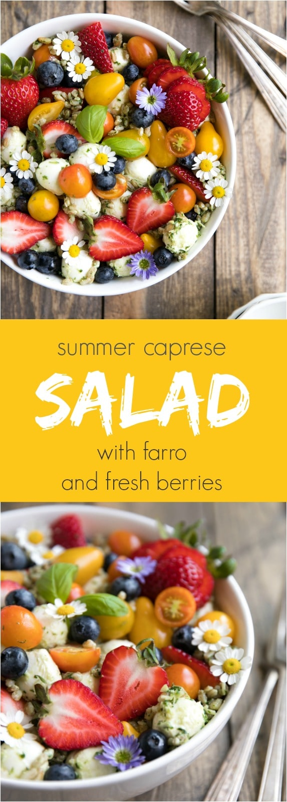 Strawberry and Blueberry Caprese Farro Salad #summerrecipes #salad #healthyrecipes #fruit #berries
