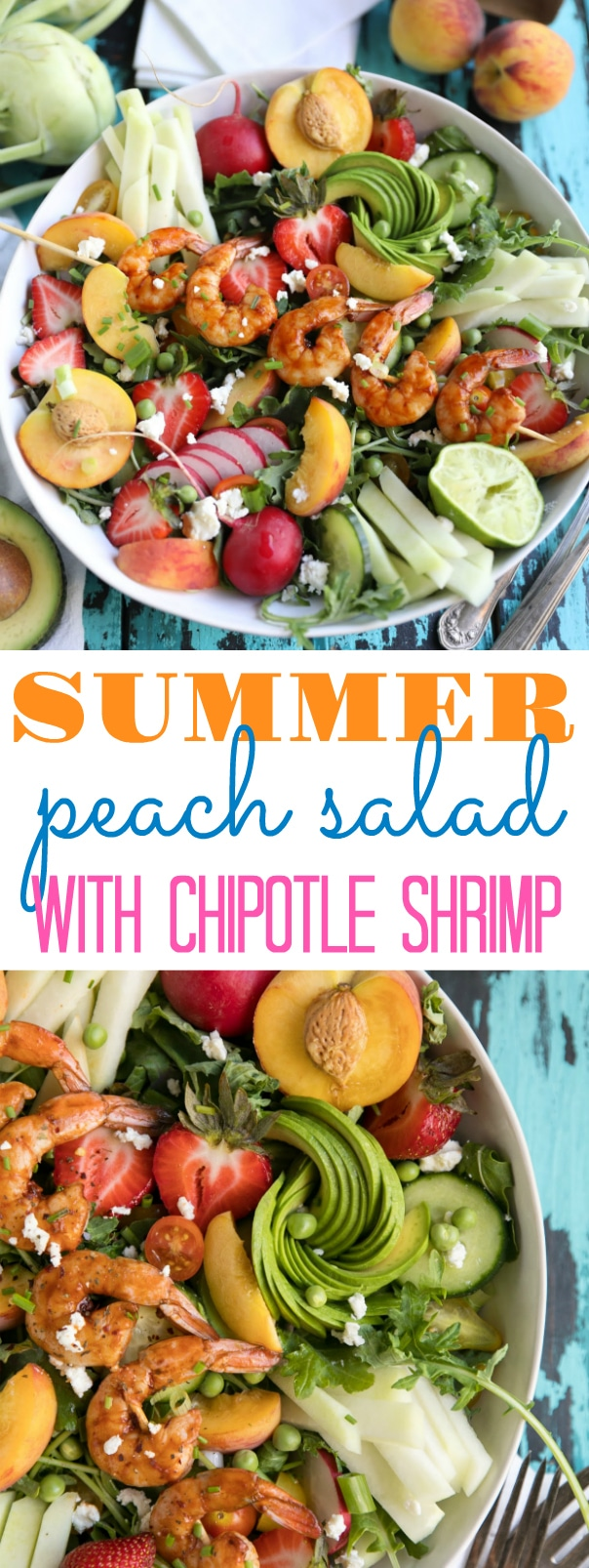 Peach and Kohlrabi Summer Salad with Chipotle Shrimp via @theforkedspoon #salad #chipotleshrimp #easyrecipe #summersalad #peaches #fruitsalad #healthyrecipe #cleaneating | For this recipe and more visit, https://theforkedspoon.com/