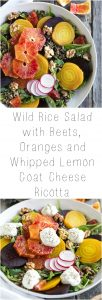 bowl filled with Wild Rice Salad with Beets, Oranges and Whipped Lemon Ricotta
