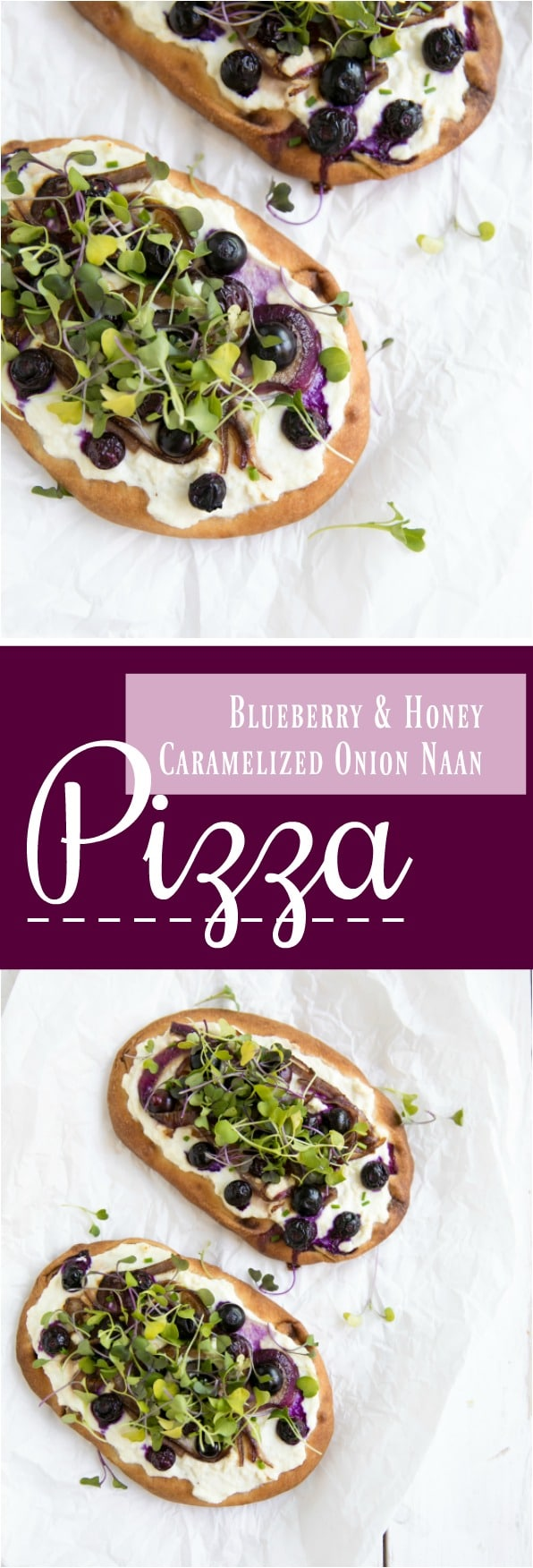 Blueberry and Honey Caramelized Onion Naan Pizza. #healthyrecipes #pizza #naan #veg #honey