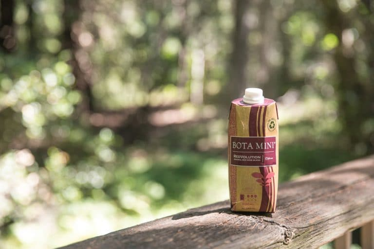bota box on wooden bridge in woods