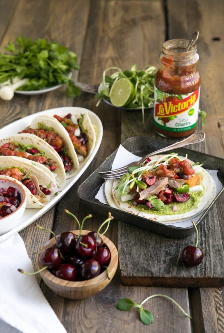 Easy Summer Tacos with Orange and Cherry Salsa