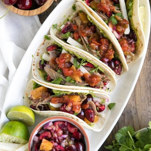 Easy Summer Tacos with Orange Cherry Salsa