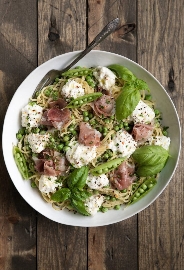 Springtime Pea Salad with Prosciutto and Burrata