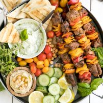 Grilled Lamb Kebab Platter with Basil Goat Cheese