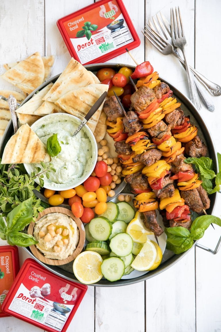 platter with Grilled Lamb Kebab Platter with Basil Goat Cheese