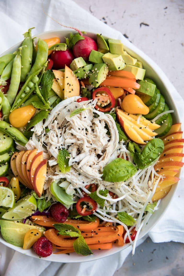 overhead photo of Nectarine Summer Salad with Shredded Chicken