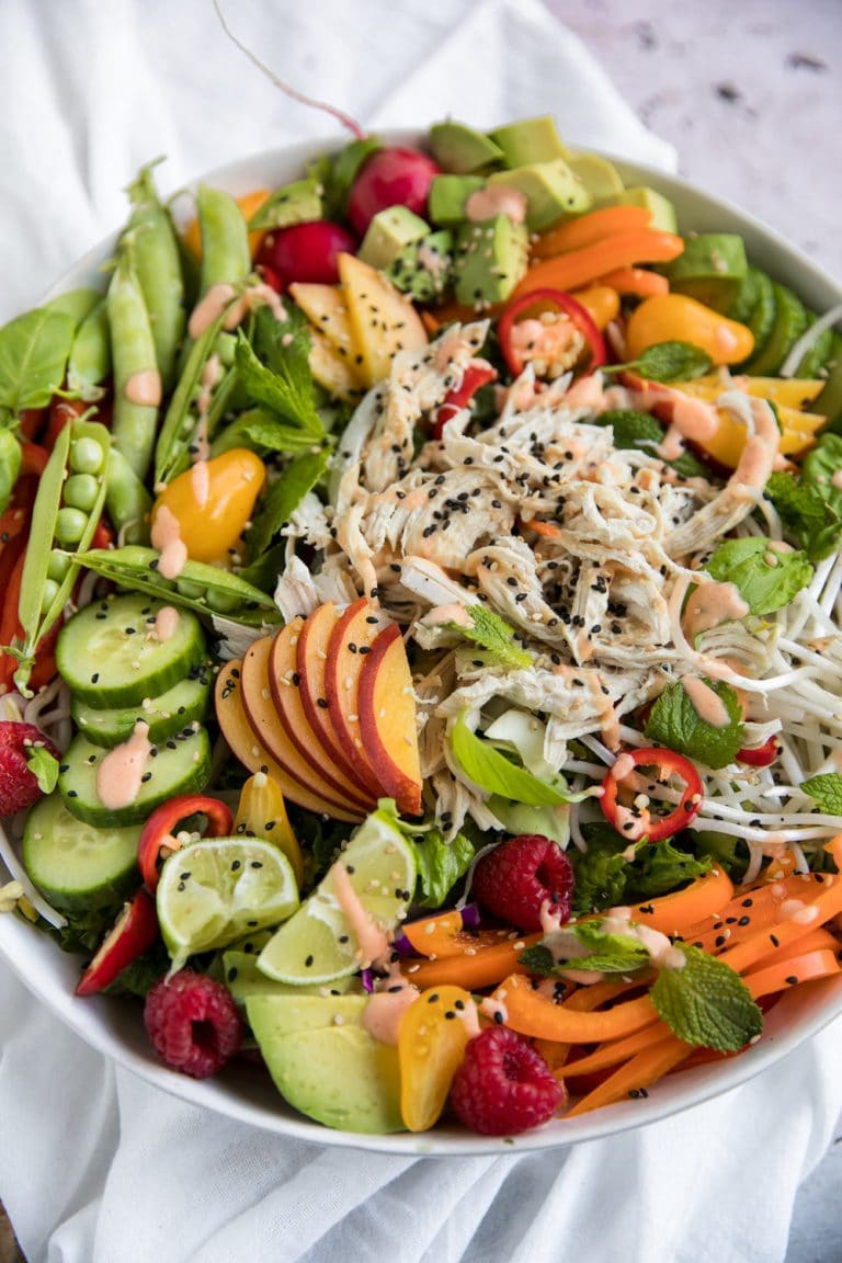 close up picture of chicken in Nectarine Summer Salad with Shredded Chicken