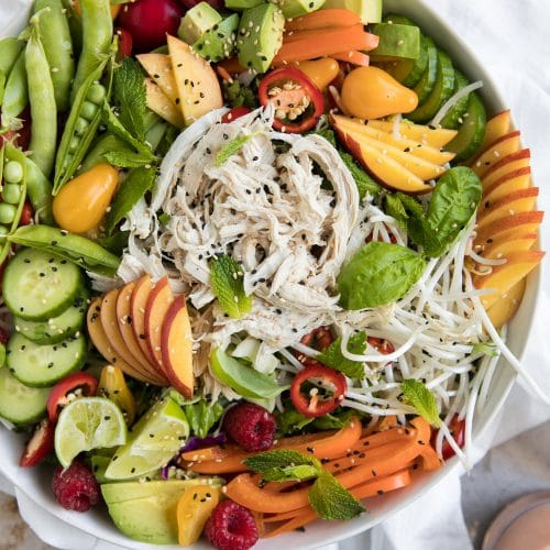 Nectarine Summer Salad with Shredded Chicken