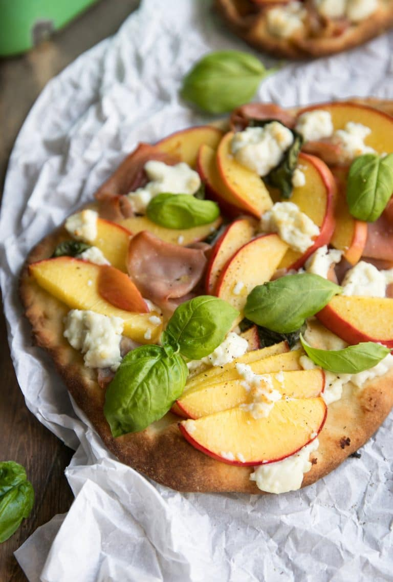 close up of Peach, Goat Cheese and Prosciutto Flatbread