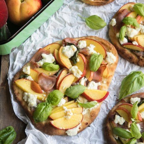Peach, Goat Cheese and Prosciutto Flatbread
