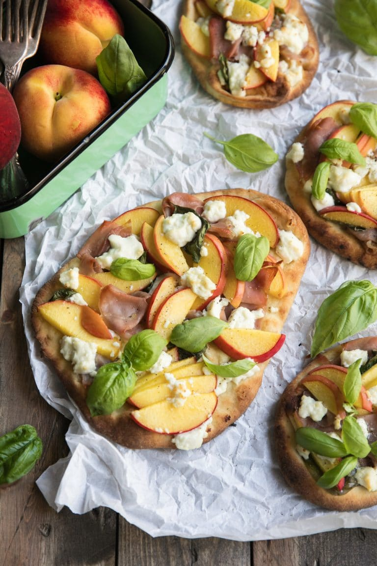 diagonal image of Peach, Goat Cheese and Prosciutto Flatbread