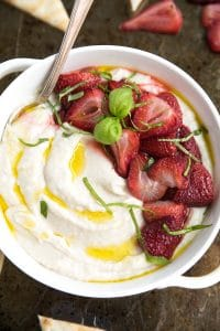 Ricotta & White Bean Dip with Roasted Strawberries