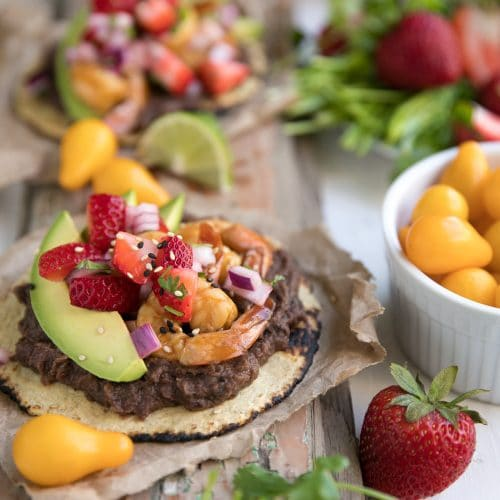 Summer Shrimp Tostadas with Sweet Strawberry Salsa