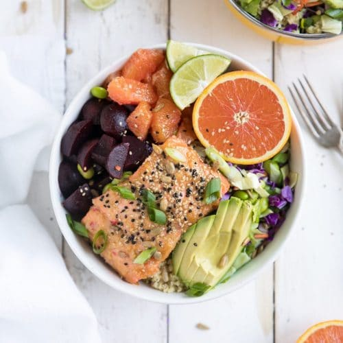 Sweet Chili Miso Salmon Salad with Beets and Oranges