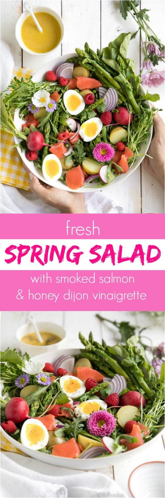 Fresh Spring Salad with Smoked Salmon and Honey Dijon Vinaigrette via @theforkedspoon #theforkedspoon #salad #spring #healthy #salmon #egg