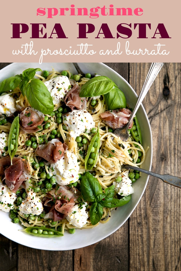 Springtime Pea Salad with Prosciutto and Burrata via @theforkedspoon #pasta #peas #noodles #easydinner #pork #prosciutto #burratacheese #easyrecipe #dinner | For this recipe and more visit, https://theforkedspoon.com/