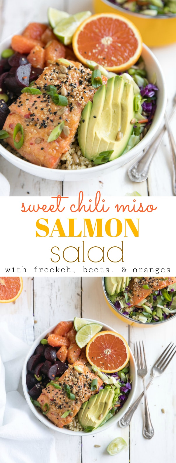 Super healthy foods like freekeh, beets, oranges, and avocado are just part of what make this nutritious 30 minute Sweet Chili Miso Salmon Salad a dinner win any night of the week! via @theforkedspoon #salmon #saladbowl #salad #healthy #30minutemeal #beets #avocado #miso #sweetchilisauce #easyrecipe | For this recipe and more visit, https://theforkedspoon.com/