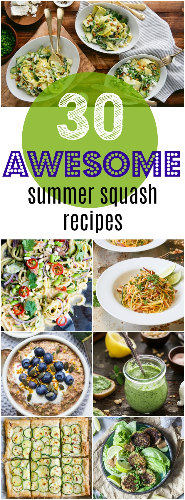 30 AWESOME Summer Squash Recipes.  Summer Squash have arrived and they are popping up everywhere! What will you be making?  #summersquash #squash #veg